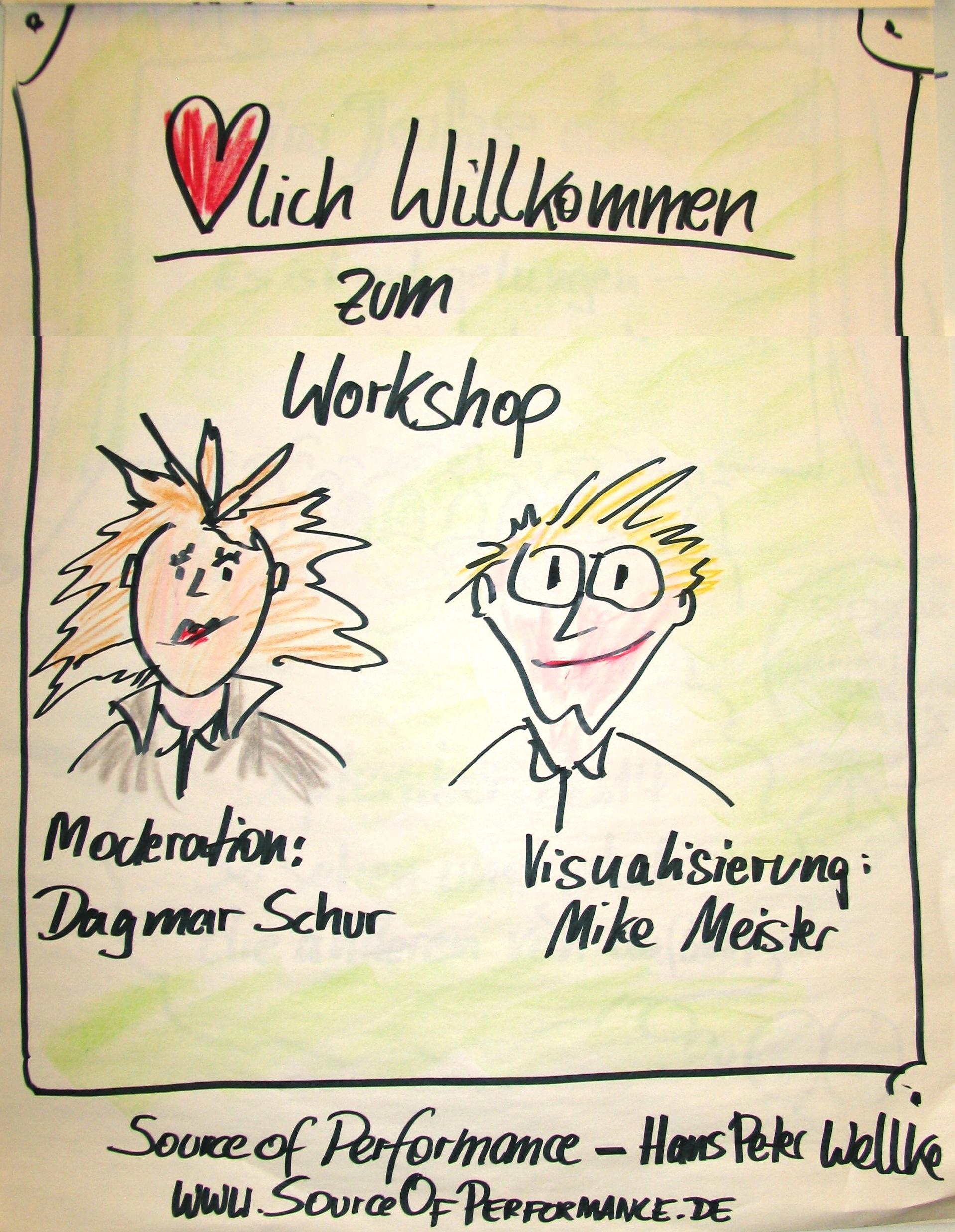 Dagmar Schur - Mike Meister als Workshopmoderatoren und Grafiker im Workshop mit Hans-Peter Wellke