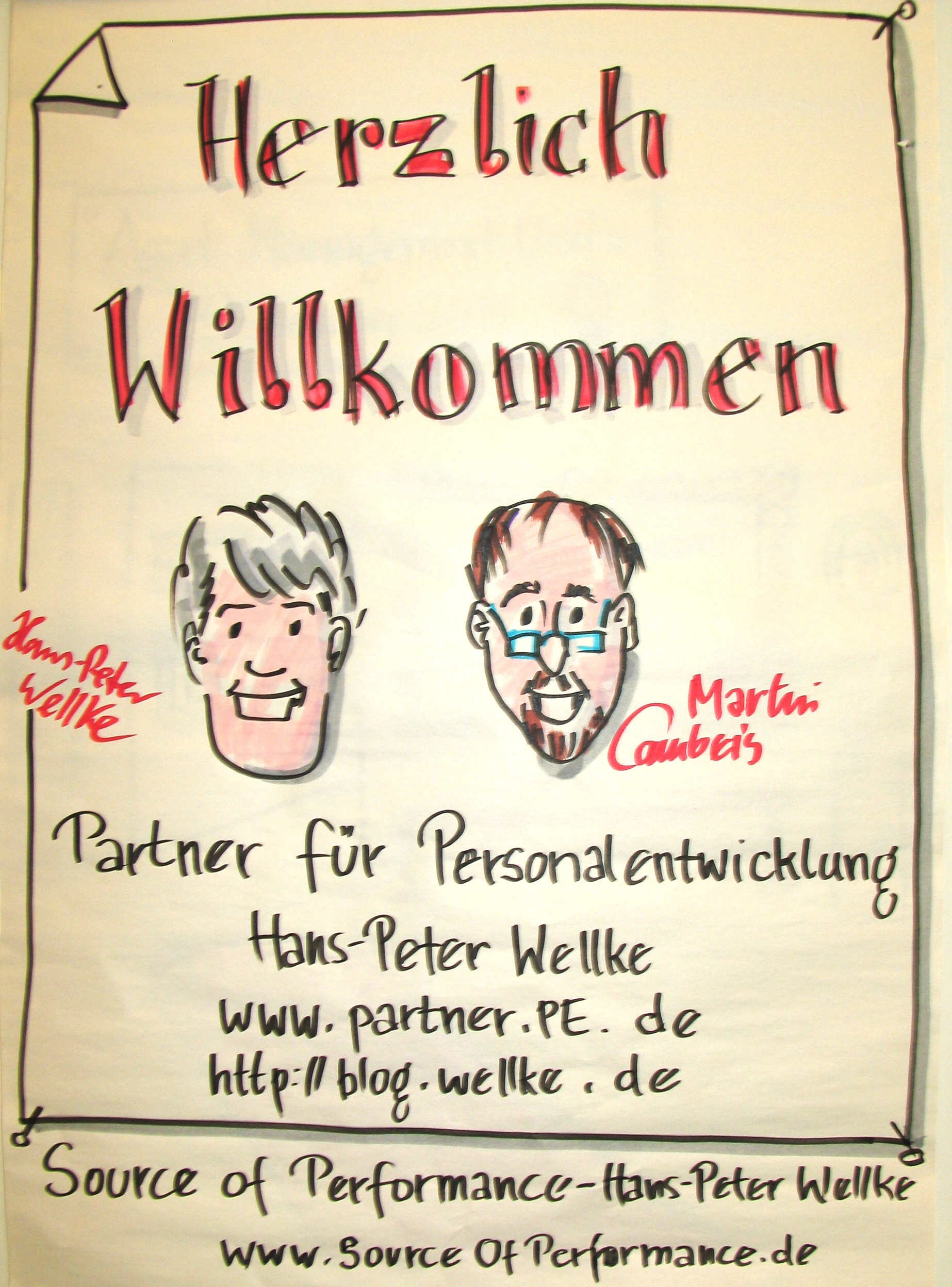 Martin Campeis und Hans-Peter Wellke_Workshopmoderation mit Cartoonist